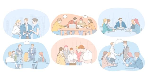 Lavoro di squadra, brainstorming, trattative, riunioni, concetto di partner commerciali.