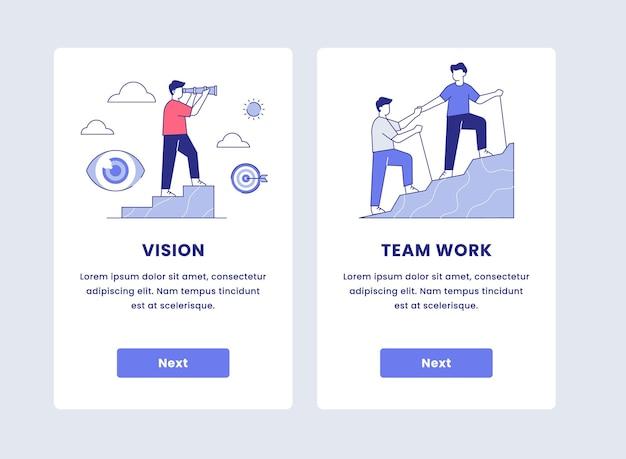 Onboarding del concetto di lavoro di squadra e visione aziendale per l'illustrazione dell'app mobile