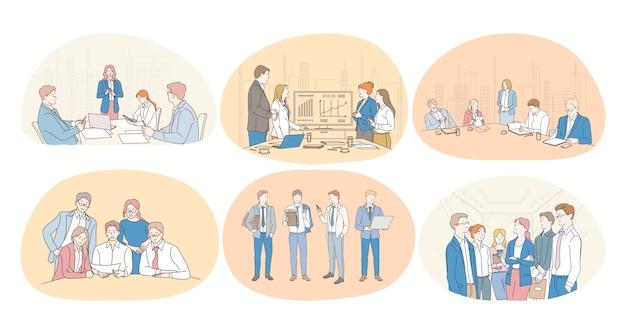 Lavoro di squadra, coaching, negoziazioni, finanza, marketing, finanza, sviluppo, concetto di comunicazione