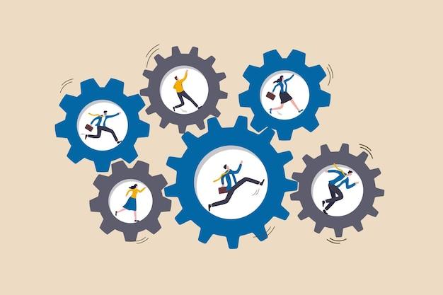 Il lavoro di squadra collabora per raggiungere l'obiettivo aziendale, i membri del team aiutano e supportano, cooperano o collaborano, l'uomo d'affari e la donna che corrono su ruote dentate o ingranaggi ruotano in sincronia per portare a termine il lavoro.