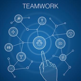 Concetto di lavoro di squadra, sfondo blu.collaborazione, obiettivo, strategia, icone delle prestazioni