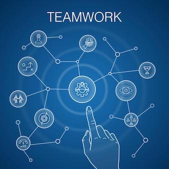 Concetto di lavoro di squadra, sfondo blu. collaborazione, obiettivo, strategia, icone delle prestazioni