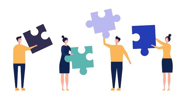 Concetto di lavoro di squadra. squadra di affari, illustrazione di collaborazione. personaggi maschili femminili piatti con dettagli puzzle. collaborazione al lavoro di squadra, team aziendale aziendale