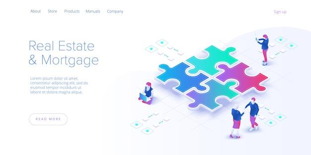 Concetto di lavoro di squadra. squadra di affari che abbina i pezzi del puzzle. metafora di cooperazione o partnership. banner web.