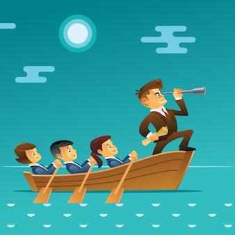 Concetto di lavoro di squadra. uomo d'affari con il gruppo di affari del cavo del cannocchiale che naviga sulla barca nell'oceano. stile cartone animato