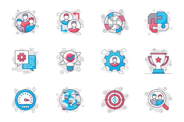 Le icone della linea piatta del concetto di lavoro di squadra impostano leadership e collaborazione nel mondo degli affari per l'app mobile