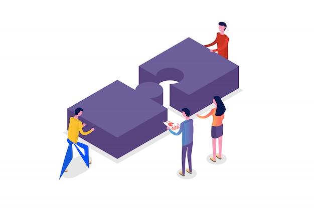 Concetto di lavoro di squadra isometrico, persone che lavorano insieme, soluzione del team aziendale. illustrazione.
