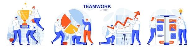 Insieme di concetti di lavoro di squadra il gruppo lavora insieme sviluppa affari riceve premi