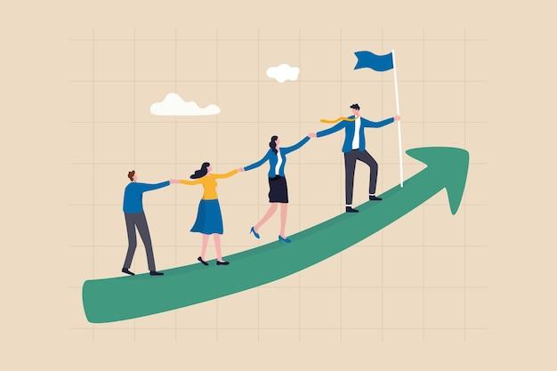 Il lavoro di squadra coopera insieme per raggiungere l'obiettivo, la leadership per costruire la squadra che cammina sulla freccia di crescita in aumento, il concetto di sviluppo della carriera, il leader dell'uomo d'affari che tiene la mano con il dipendente che cammina sul grafico della freccia