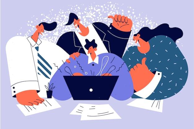Lavoro di squadra, cooperazione, concetto di gruppo aziendale. gruppo di personaggi dei cartoni animati di lavoratori aziendali in piedi