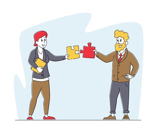Cooperazione di lavoro di squadra, lavoro collettivo, concetto di partenariato. i personaggi dell'ufficio lavorano insieme per creare pezzi di puzzle separati