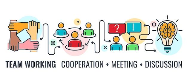 Insegna orizzontale di riunione di cooperazione o di lavoro di squadra con squadra di icone di linea colorata, stretta di mano, cervello e conferenza. infografica del processo di lavoro di squadra. illustrazione vettoriale isolato