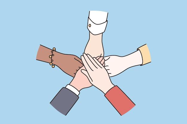 Concetto di partnership per l'accordo sulla diversità del lavoro di squadra