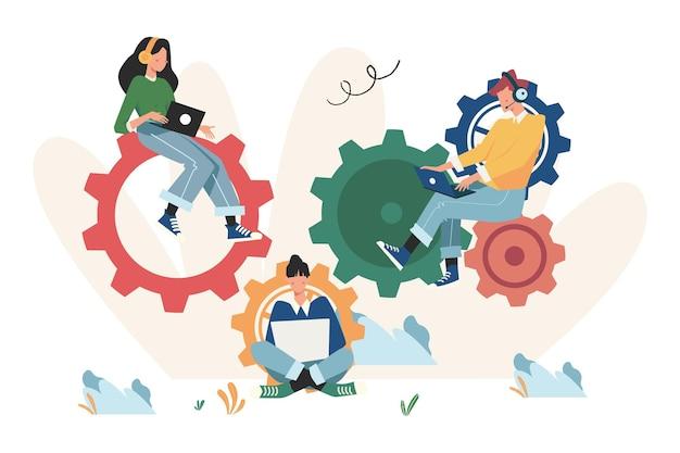 Lavoro di squadra per trovare nuove idee, piccole persone che lanciano un meccanismo, lavoro creativo