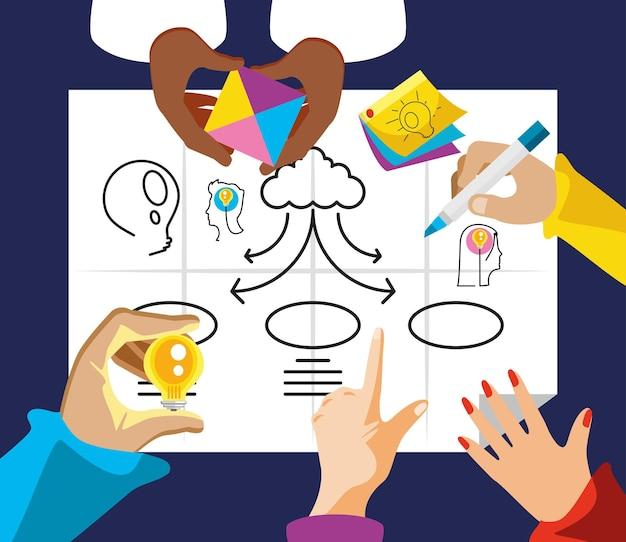 Brainstorming di gruppo di lavoro di squadra