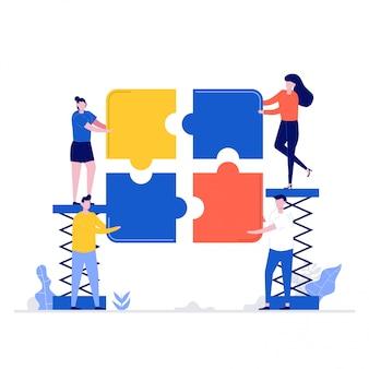 Concetto di illustrazione del lavoro di squadra con personaggi e puzzle.