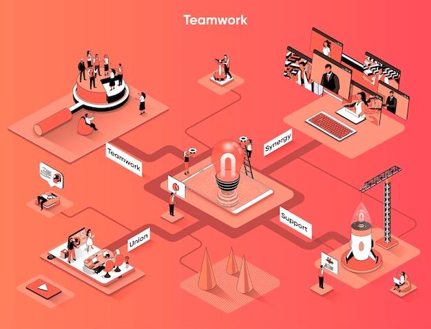 Isometria piana di banner web isometrica lavoro di squadra