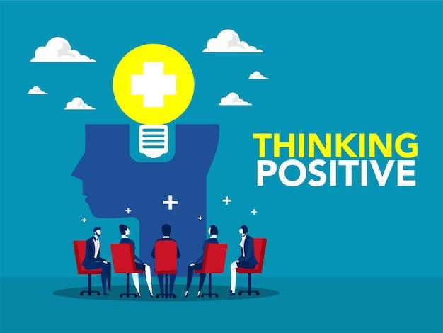 Riunione di lavoro di squadra o condividere un'idea con la lampadina sulla testa umana illustratore di concetto di pensiero positivo