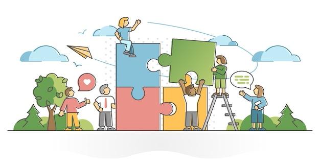 Il lavoro di squadra collaborazione collaborazione aiuto e assistenza concetto di contorno. coworking aziendale efficace e responsabilità condivisa per il raggiungimento di obiettivi efficaci e di successo nel lavoro professionale
