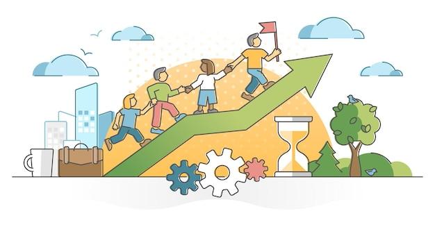 Aiuto di collaborazione collaborazione di lavoro di squadra o concetto di contorno di assistenza