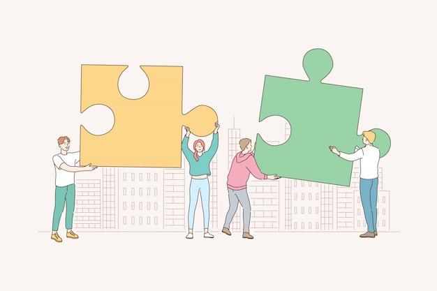 Lavoro di squadra, collaborazione, cooperazione, affari, puzzle, concetto di puzzle.