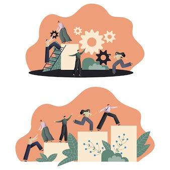 Lavoro di squadra, le persone collegano i pezzi del puzzle