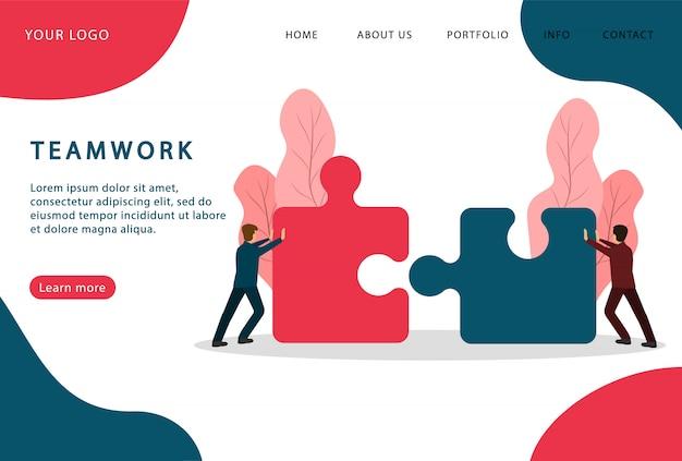 Lavoro di squadra. persone che collegano puzzle. associazione. pagina di destinazione. pagine web moderne per siti web.