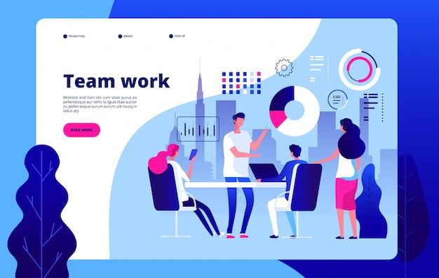 Lavoro di squadra . la gente che lavora insieme la soluzione astuta di affari che esternalizza la pagina di destinazione del clipart della costruzione di affari