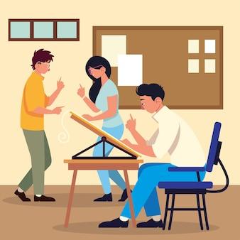 Lavoro di squadra che pianifica insieme scrivania da ufficio