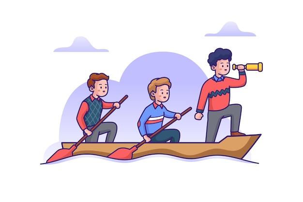Barca a remi di lavoro di squadra