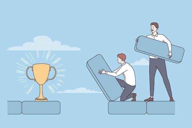 Successo del lavoro di squadra che raggiunge il concetto di obiettivo