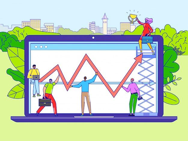 Illustrazione al tratto di strategia di successo del lavoro di squadra. i lavoratori della società di affari equipaggiano il charcater della donna sul grande grafico di crescita della tenuta del computer portatile