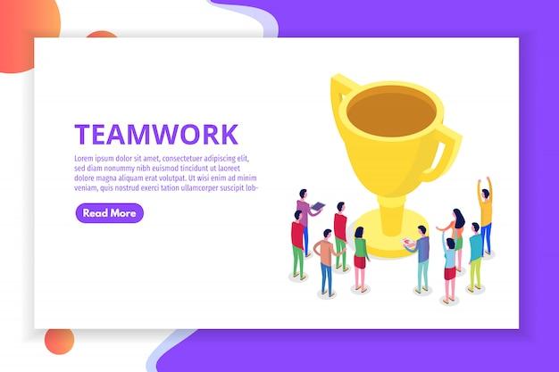 Lavoro di squadra, successo, concetto di squadra vittoria isometrica. illustrazione.
