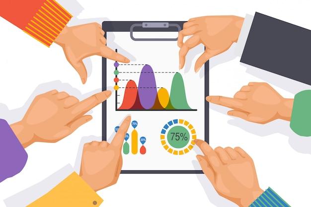 Elementi della tavola di lavoro di squadra, mano degli impiegati sull'illustrazione del grafico. uomini d'affari del gruppo aziendale che lavorano su un progetto comune