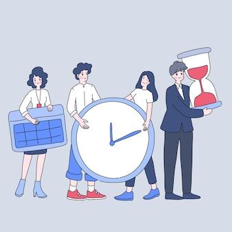 Gestione del tempo di lavoro di squadra, illustrazione di gruppo di persone