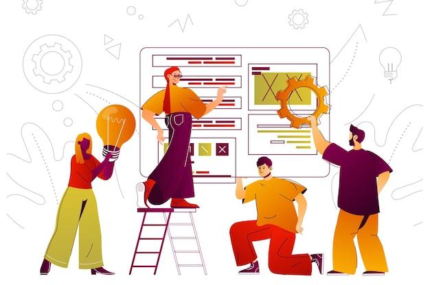 Concetto di lavoro di squadra web i colleghi lavorano insieme brainstorming e collaborazione