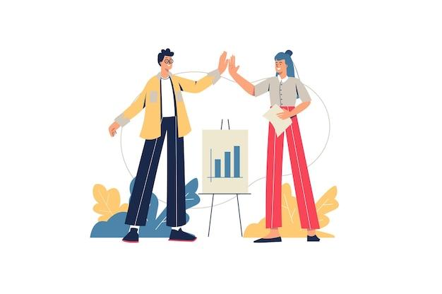 Concetto di web di lavoro di squadra. l'uomo e la donna lavorano insieme sul progetto. i colleghi collaborano, analizzano i dati, fanno presentazioni in azienda, scena di persone minimali. illustrazione vettoriale in design piatto per sito web