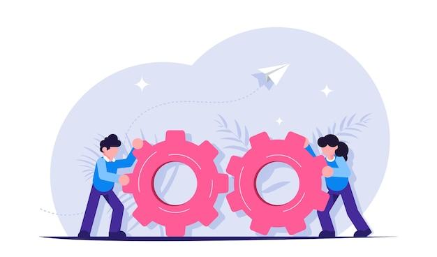 Lavoro di squadra con ingranaggi. gestione aziendale e processo di lavoro