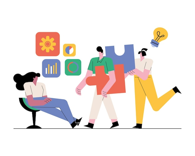 Caratteri dei lavoratori di squadra con l'illustrazione delle icone di affari