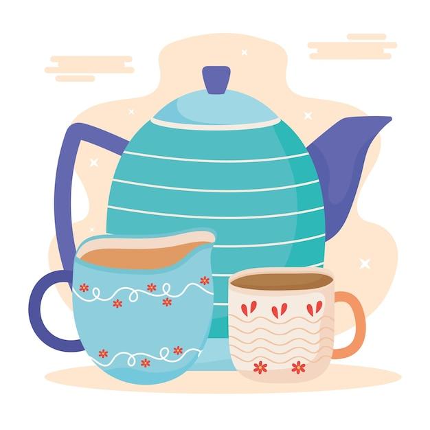 Teiera e tazze in ceramica