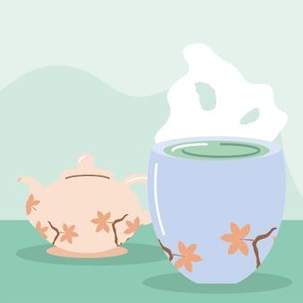 Teiera e tazza da tè