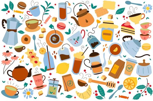 Insieme di doodle dell'ora del tè. accumulazione dei biscotti variopinti del bollitore dei sacchetti delle teiere e del miele isolati su bianco. alimentazione malsana con l'illustrazione del fumetto della caffeina.