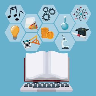 Il computer portatile di tecnologia e visualizza il libro aperto con conoscenza accademica delle figure astratte geometriche di colore grigio delle icone