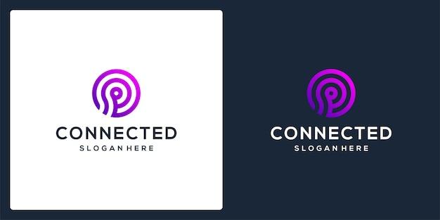 Logo tecnico collegato al monogramma della lettera iniziale p. vettore premium