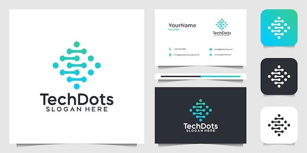 Design illustrazione logo tech. logo e biglietto da visita