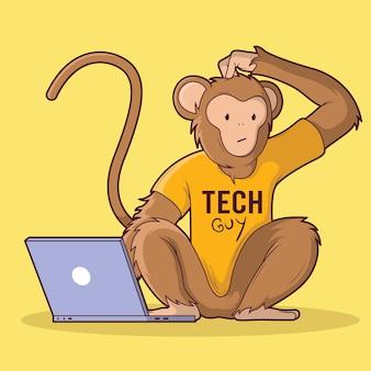 Illustrazione di tech monkey. comunicazione, tecnologia, concetto di design del marchio Vettore Premium
