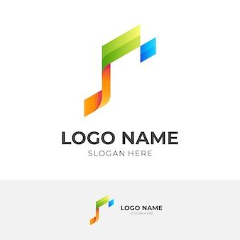 Logo della nota tecnica, nota e pixel, logo combinato con stile colorato 3d