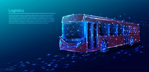 Sfondo tecnologia tecnologia poligonale con servizio di trasporto bus rosso