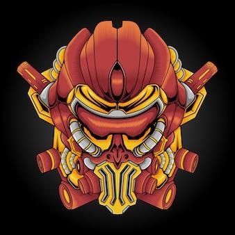 Illustrazione della mascotte della testa del robot tecnologico
