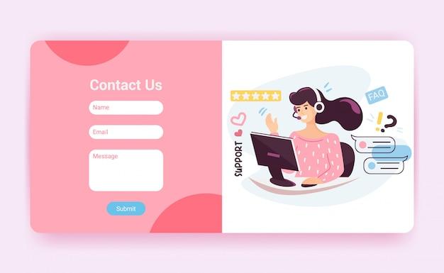 Modello di pagina di destinazione del supporto tecnico con modulo di contatto. operatore del servizio clienti con auricolare che parla al cliente, mockup del sito web. illustrazione del fumetto